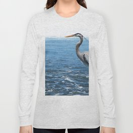 Great Blue Heron on the Pacific Coast in Costa Rica Long Sleeve T-shirt