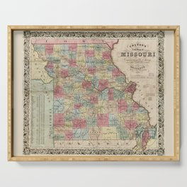 Colton's Map of Missouri (1851) Serving Tray