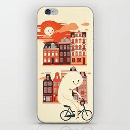 Happy Ghost Biking Through Amsterdam iPhone Skin