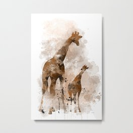 Giraffe and Baby Metal Print