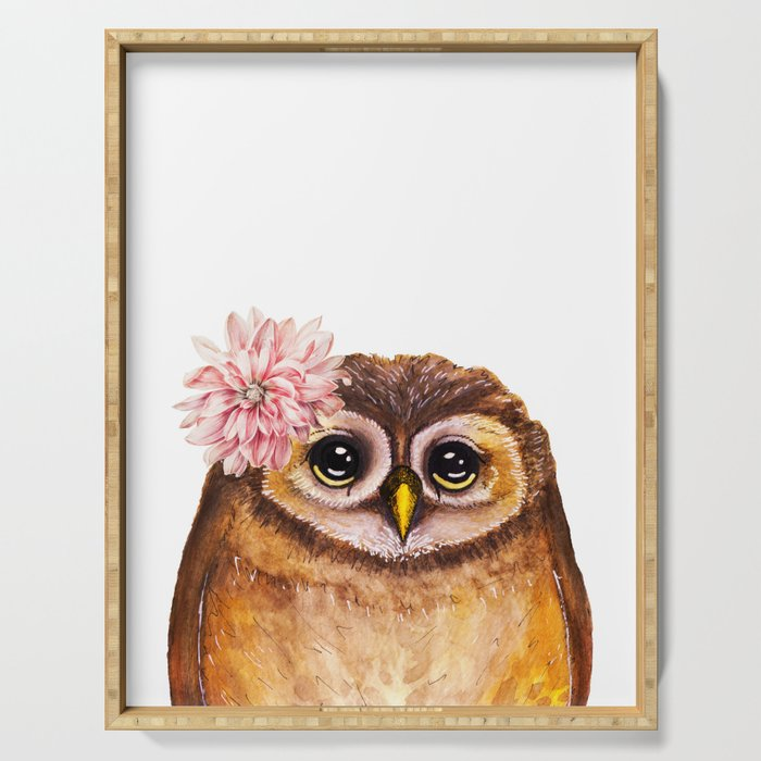 Rosalie, the baby owl Serving Tray