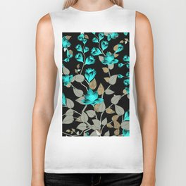 Modern abstract teal black faux gold floral Biker Tank