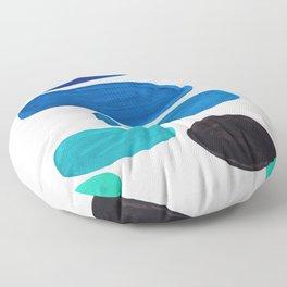 Colorful Mid Century Modern Pop Art Minimalist Style Teal Blue Aquamarine Bubbles White Background Floor Pillow