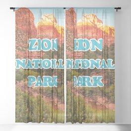 Zion National Park Utah Desert Canyon Retro Travel Souvenir Print Sheer Curtain