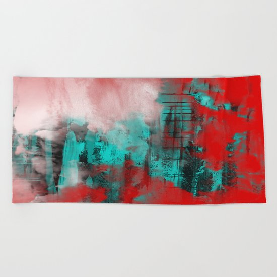 Intense Red And Blue Beach Towel