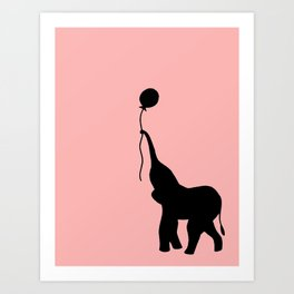 Elephant with Balloon - Pink Art Print