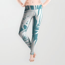 Palm Tree Fronds White on Soft Blue Hawaii Tropical Décor Leggings