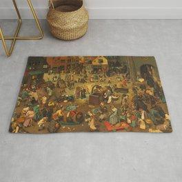 """Pieter Bruegel (also Brueghel or Breughel) the Elder """"The Fight Between Carnival and Lent"""" Rug"""