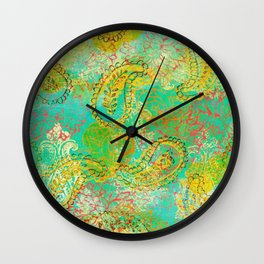 Paisleys and Blooms Wall Clock