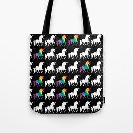 White & Watercolor Rainbow Unicorn Silhouettes Pattern Tote Bag