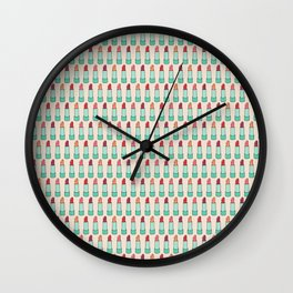 Doodle Lipstick Pattern Wall Clock