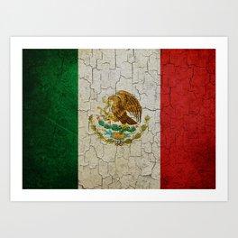 Cracked Mexico flag Art Print