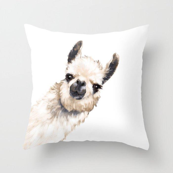 Sneaky Llama White Throw Pillow