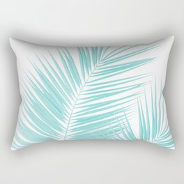 Soft Turquoise Palm Leaves Dream - Cali Summer Vibes #1 #tropical #decor #art #society6 Rectangular Pillow