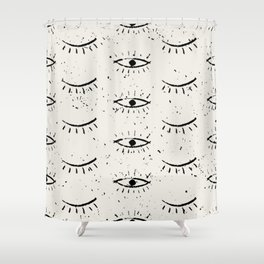 Vintage eyes hand drawn illustration pattern Shower Curtain