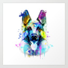 German Shepherd Watercolor, Watercolor Dog print, German Shepherd Print, German Shepherd Art Art Print