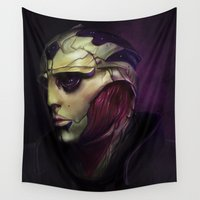 mass effect Wall Tapestries featuring Mass Effect: Thane Krios by Ruthie Hammerschlag
