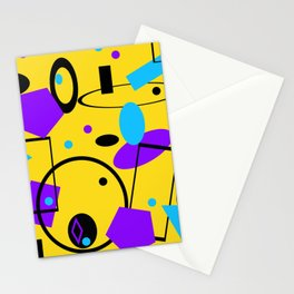 Retro abstract geometric print yellow Stationery Cards