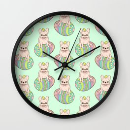Cream Frenchie and Easter chick on a colorful Easter egg Wall Clock