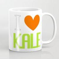 vegetarian Mugs featuring I Love Kale - Vegan & Vegetarian - Kale Love by Be Kindly