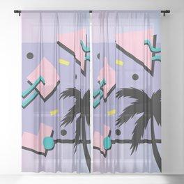 Memphis Pattern 25 - Miami Vice / 80s Retro / Palm Tree Sheer Curtain