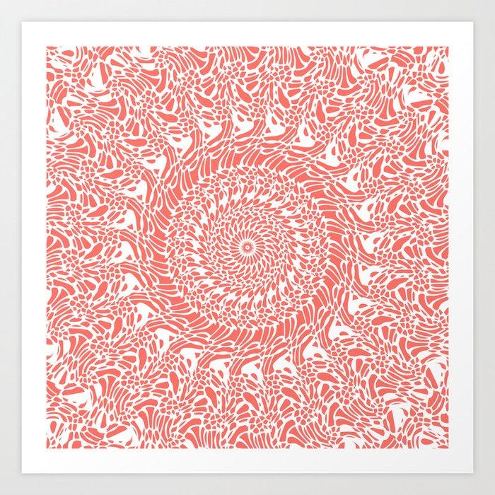 Coral and White Mandala Art Print