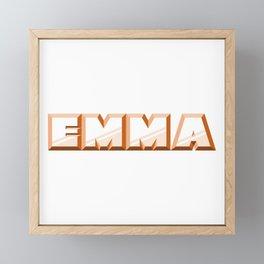 """EMMA"" first name orange pattern Framed Mini Art Print"