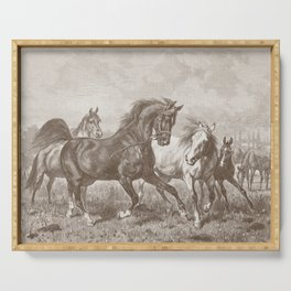 HORSES ON A PASTURE  Serving Tray