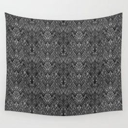 Abstract and faux crocodile skin .Texture Dark gray . Wall Tapestry