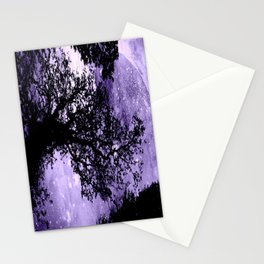 Black Trees Lavender Space Stationery Cards