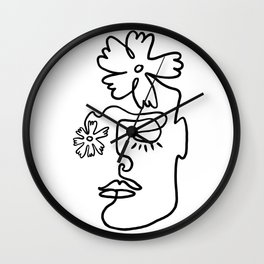 Black and White Line Art Floral Portrait Wall Clock