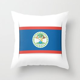 Flag of Belize. The slit in the paper with shadows. Throw Pillow