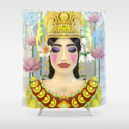 The Meditating Apsara Shower Curtain