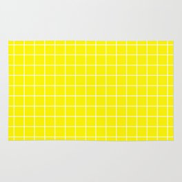 Yellow Sunshine - yellow color - White Lines Grid Pattern Rug