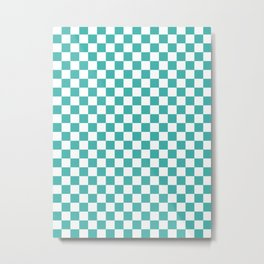 Small Checkered - White and Verdigris Metal Print