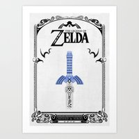 legend of zelda Art Prints featuring Zelda legend - Sword by Art & Be
