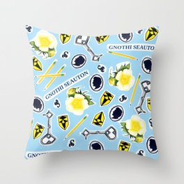 Blue ChaRActer Collage Throw Pillow