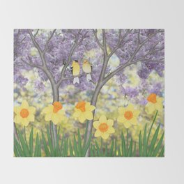 goldfinches, lilacs, & daffodils Throw Blanket