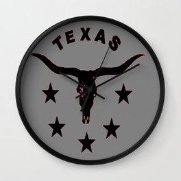 Grey & Black Texas Longhorn Logo Pattern Art Wall Clock