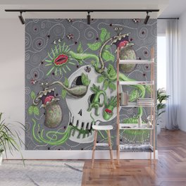 skull pot with carnivorous plants Wall Mural