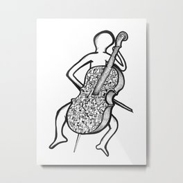 Geometric Cellist Metal Print