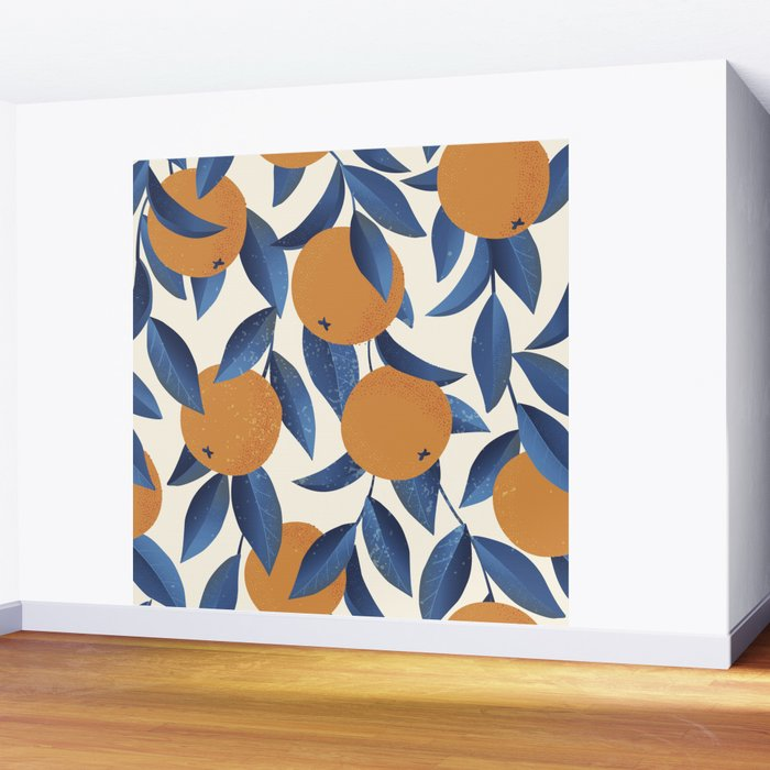 Orange Citrus Blossoms Blue Leaves Seamless Pattern Wall Mural
