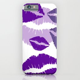 Lips violet white background design iPhone Case