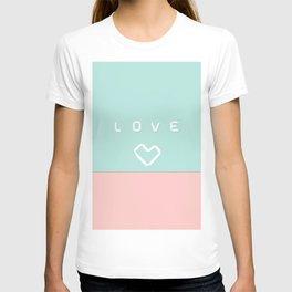 Paper love on mint green T-shirt