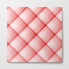 Red Geometric Squares Diagonal Check Tablecloth Metal Print