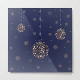Three New Year Golden Ornaments with bubbles and stars Metal Print