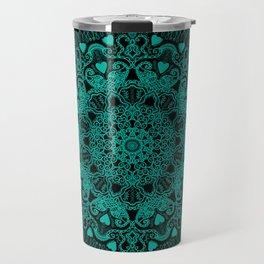 Mandala Project 231   Teal Green Bohemian Mandaa with Hearts Travel Mug