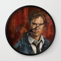 true detective Wall Clocks featuring True Detective by LucioL