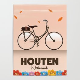 Houten Netherlands Cycling poster print. Poster