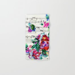 Musical Beauty - Floral Abstract - Piano Notes Hand & Bath Towel